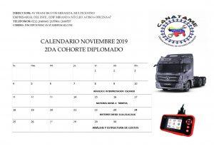 """Calendario Mes de Noviembre de 2019. Segunda Cohorte Diplomado """"Mecánica Básica Automotriz"""" avalado por la Universidad Central de Venezuela"""