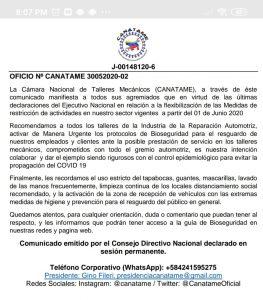 Comunicado del Consejo Directivo Nacional de CANATAME