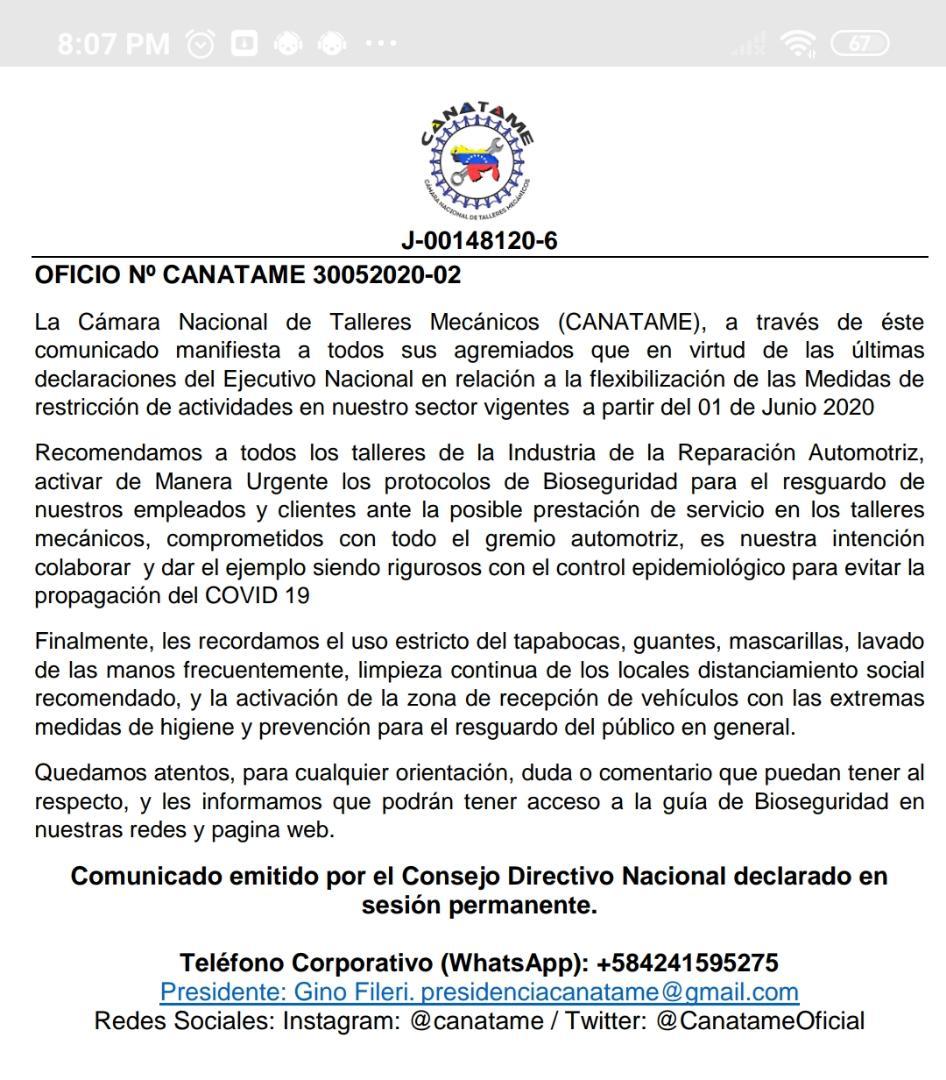 En este momento estás viendo Comunicado del Consejo Directivo Nacional de CANATAME