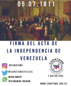 Lee más sobre el artículo DÍA DE LA INDEPENDENCIA DE VENZUELA 05 DE JULIO DE 1811