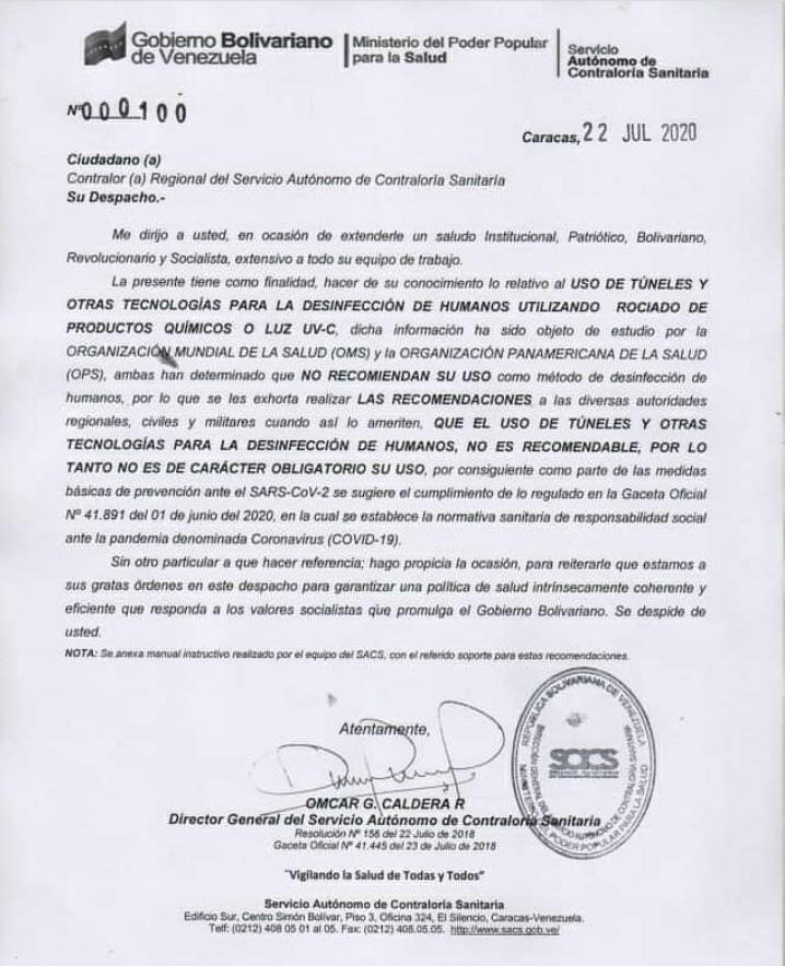 CONTRALORÍA SANITARIA ADVIERTE SOBRE USO DE LOS TÚNELES DE DESINFECCIÓN PARA EL COVID 19