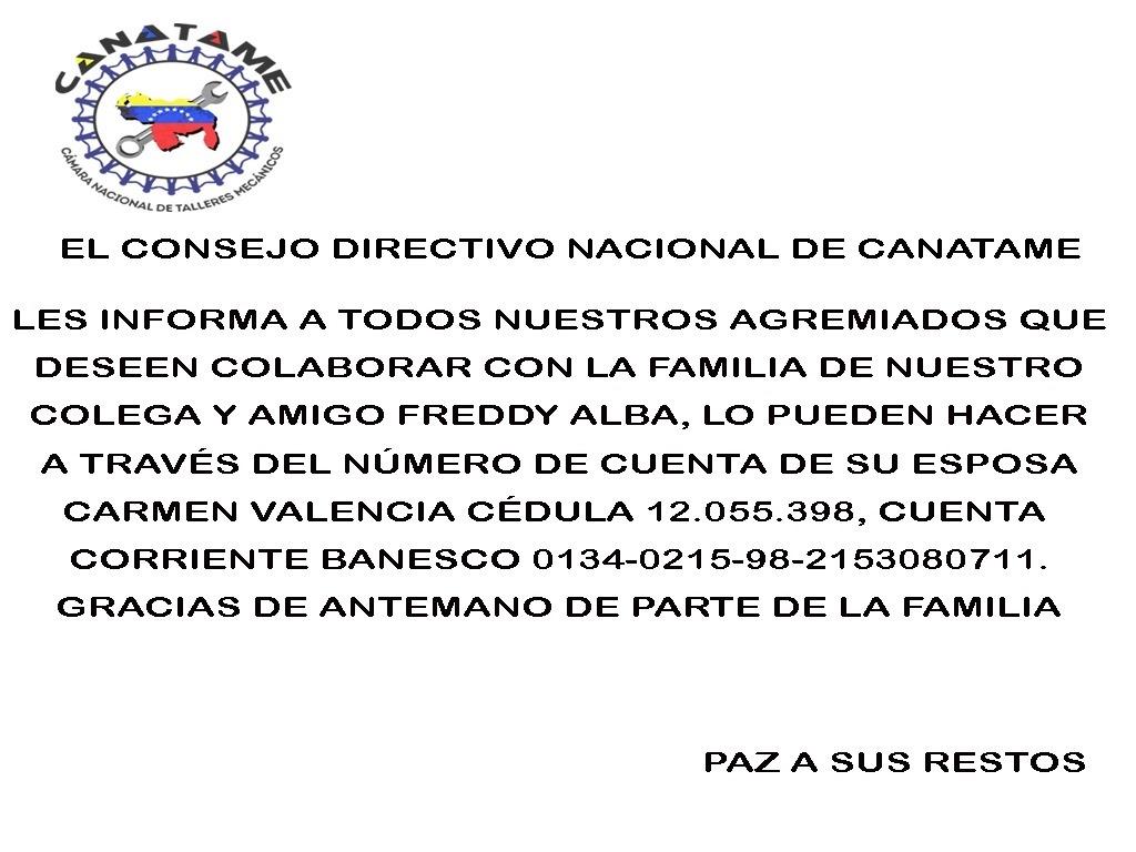 En este momento estás viendo CANATAME SE SOLIDARIZA CON LA FAMILIA DEL SR. FREDY ALBA POR SU FALLECIMIENTO