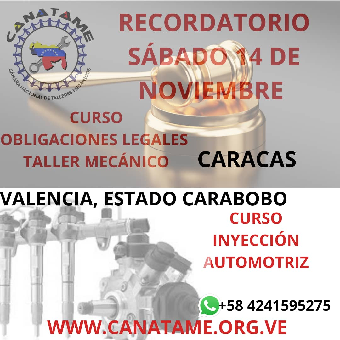 En este momento estás viendo RECORDATORIO CURSOS SÁBADO 14 DE NOVIEMBRE DE 2020, CARACAS Y CARABOBO