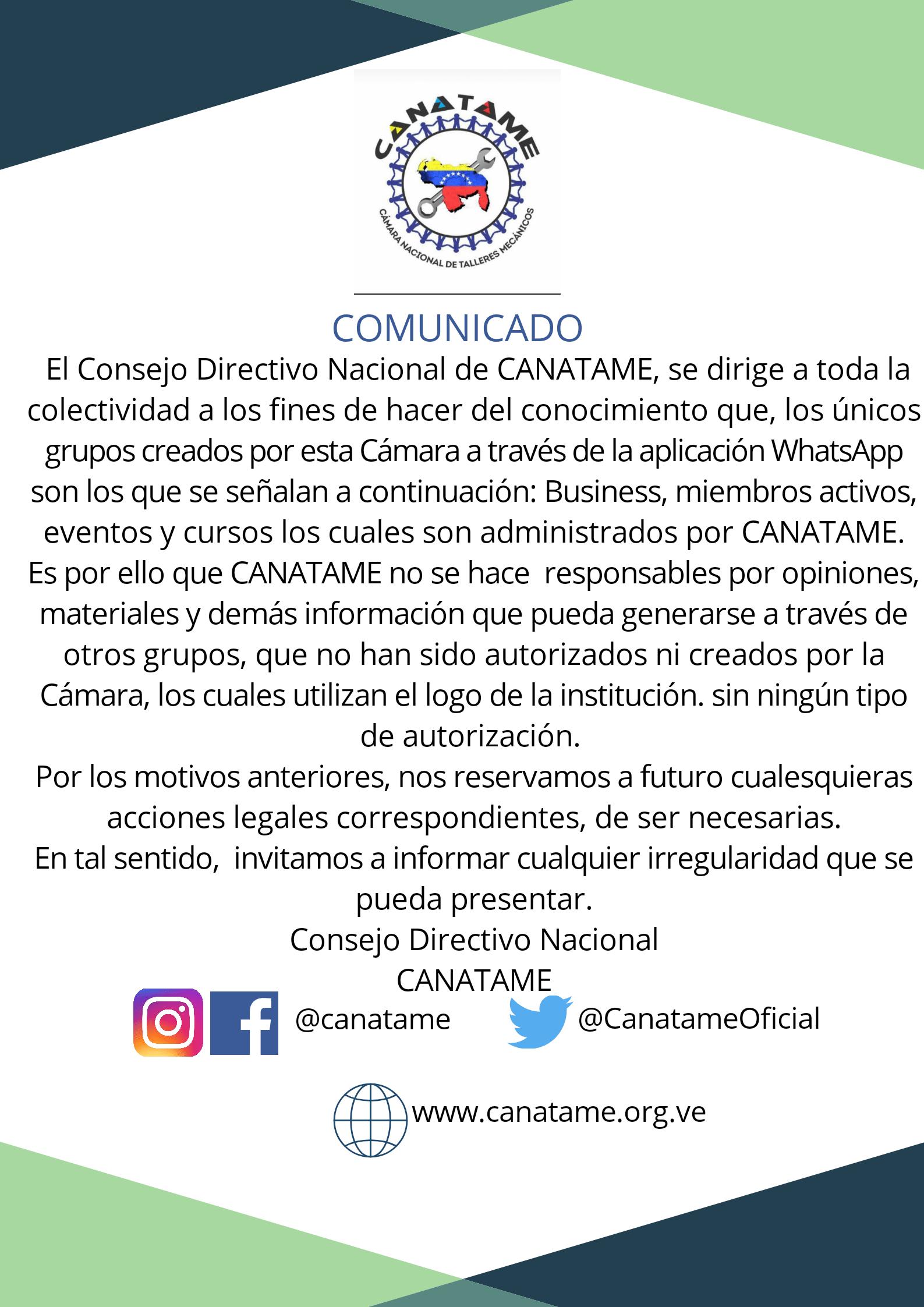 CANATAME EMITE COMUNICADO SOBRE GRUPOS DE WHATSAPP CON SU LOGO Y RAZÓN SOCIAL