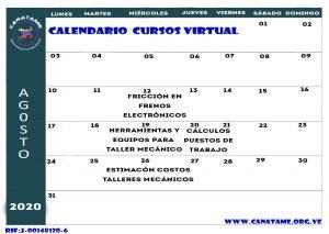 Lee más sobre el artículo CALENDARIO DE CURSOS AGOSTO 2020