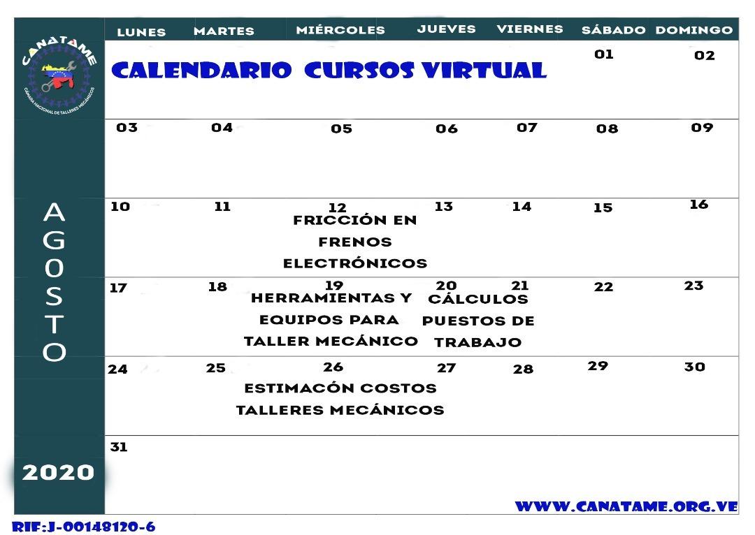 CALENDARIO DE CURSOS AGOSTO 2020