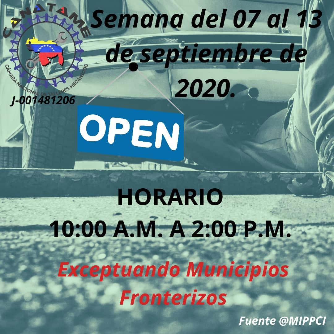En este momento estás viendo HORARIO TALLERES MECÁNICOS SEMANA DE FLEXIBILIZACIÓN DEL 07 AL 13 DE SEPTIEMBRE DE 2020