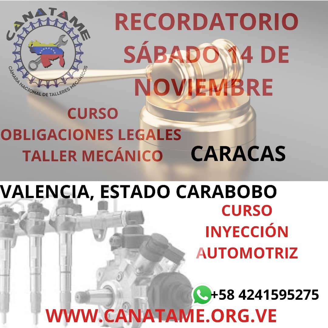 RECORDATORIO CURSOS SÁBADO 14 DE NOVIEMBRE DE 2020, CARACAS Y CARABOBO