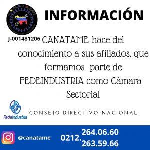 CANATAME FORMA PARTE DE FEDEINDUSTRIA